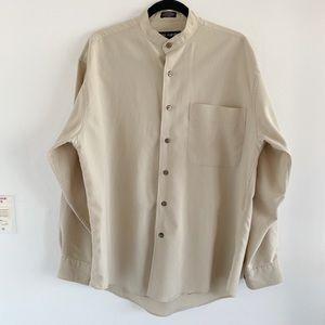 2/25 🍉 oversized mandarin collar tan button down